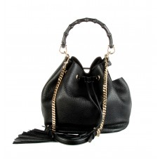 GUCCI Black Pebbled Calfskin Leather Miss Bamboo Bucket Bag